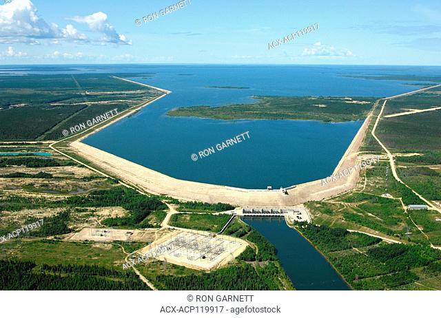 aerial, Grand Rapids dam, Manitoba, Canada