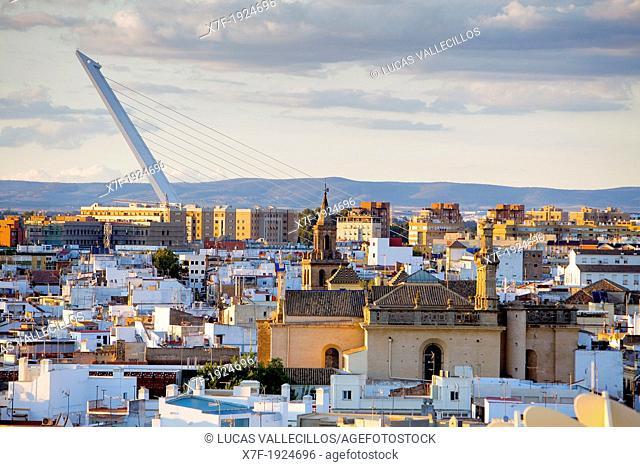 Skyline from top of Metropol Parasol in Plaza de la Encarnación,in background Alamillo bridge,Sevilla,Andalucía,Spain