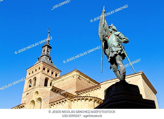 San Martín Church and Juan Bravo statue, in Segovia, city declarated Historical-Artistic Site, and World Heritage by UNESCO