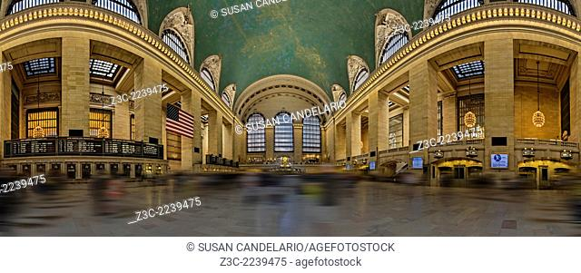 This panorama shows a unique perspective of the main concourse of historic Grand Central Terminal in New York City. This view shows the entire concourse...