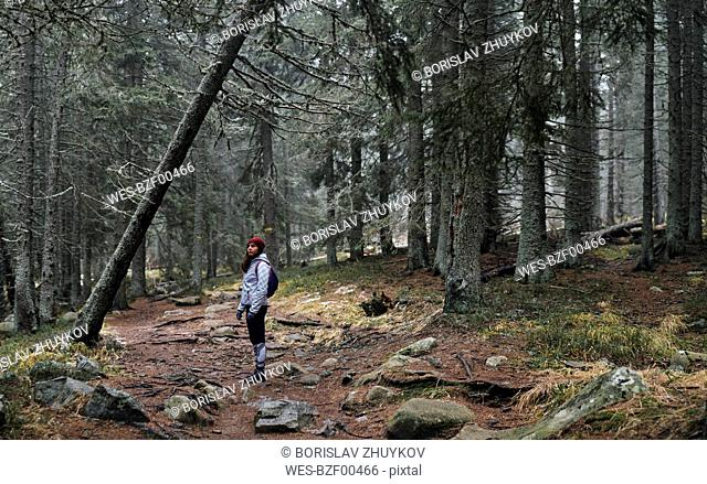Bulgaria, Young yoman in the forest