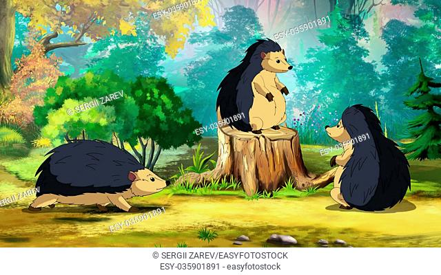 Hedgehog's family on a sunny forest glade in a morning. Digital painting cartoon style full color illustration