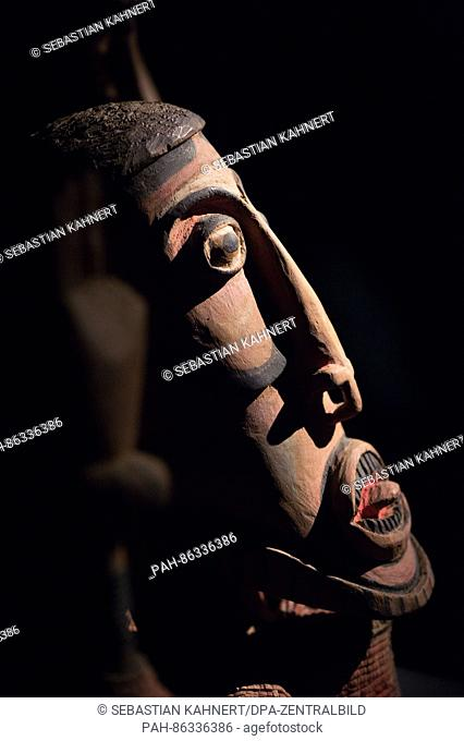 A wooden mask from Papua New Guinnea (pre-1914) on display as part of the exhibition: 'Prolog #1-10: Tales of People, Things