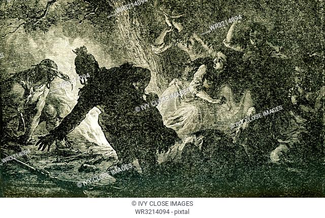 This illustration shows the rescue of Miss Jemima Boone (sister of Daniel Boone) and her friends Betsy and Frances Callaway