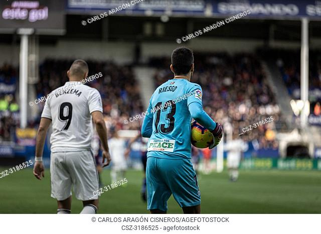 Karim Benzema (L) and Asier Riesgo (R) on the La Liga match between Eibar and Real Madrid CF at Ipurua Stadium on November 24, 2018 in Eibar, Spain