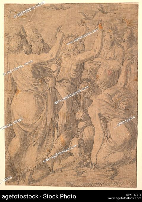 Moses showing the quails to the Israelites (the miracle of the quails and manna). Artist: Andrea Schiavone (Andrea Meldola) (Italian, Zadar (Zara) ca