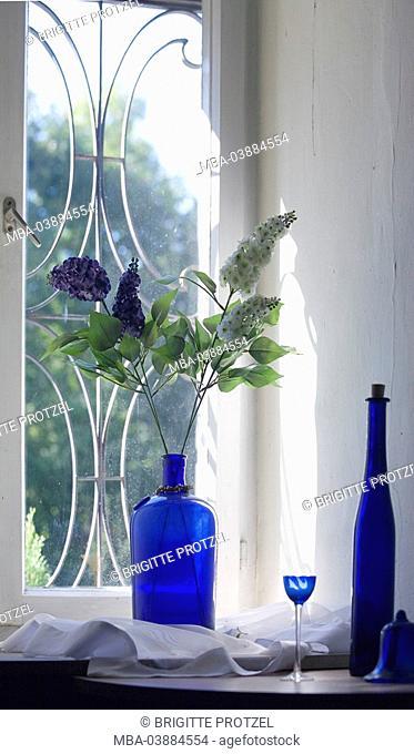 still life, windows, flower-vase, bottle, glass, blue
