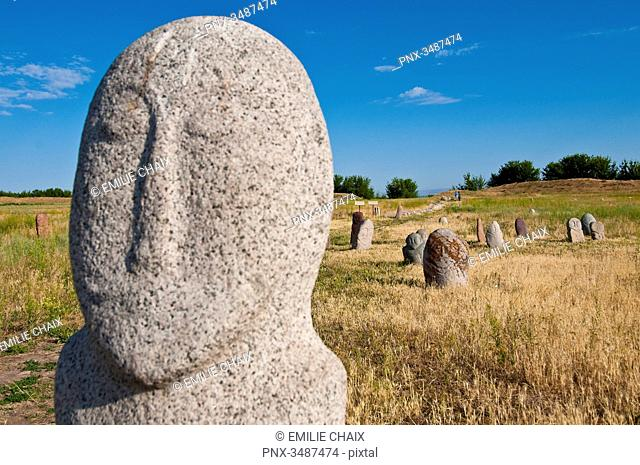 Central Asia, Kyrgyzstan, Chuy province, Burana Tower (11th), archeological site, tombstone (balbal) from the 7th and 11th century representing deserving...