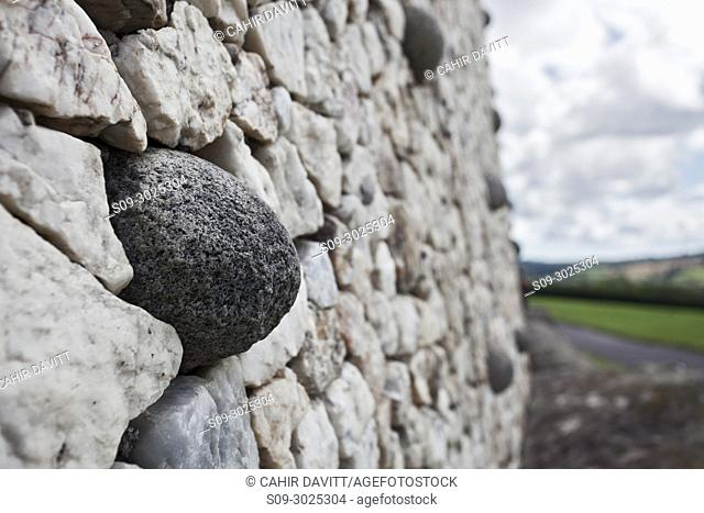 Architectural facade detail of the UNESCO World Heritage Site Neolithic, Bru na Boinne complex, Newgrange Passage Tomb Monument, in the Boyne Valley, Slane, Co