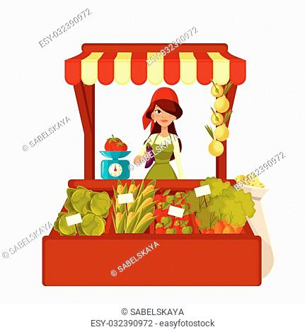 Sale of farm vegetables in the market, vector cartoon woman sells fresh vegetables and fruits at the market, retail sales of fresh homemade products