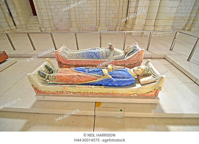 The 800 year old tombs of King Henry II of England and his Queen Eleanor of Aquitaine in the royal Abbey of Fontevraud