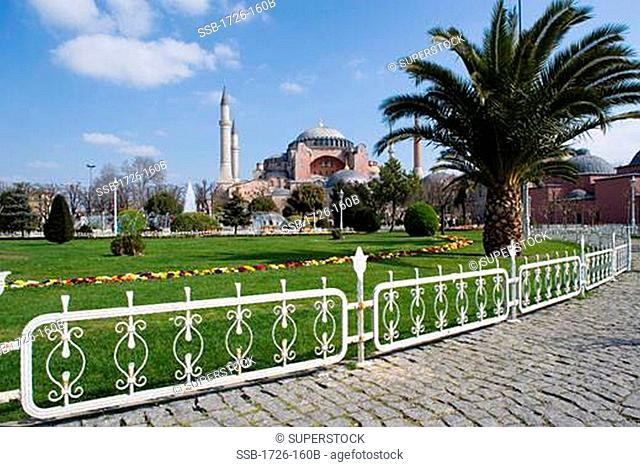 Park in front of a mosque, Hagia Sophia, Istanbul, Turkey