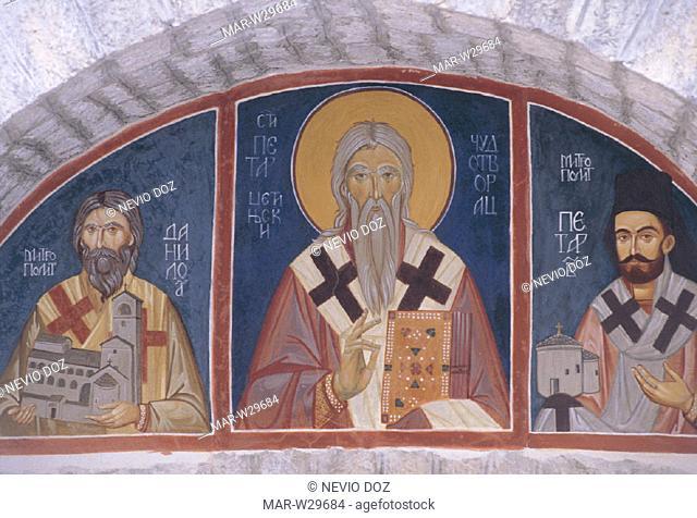 frescos, monastery, XIII century, cetinje, yugoslavia federal republic