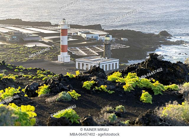 Lighthouse Faro de Fuencaliente, Salinas de Fuencaliente, island La Palma, Canary islands, Spain