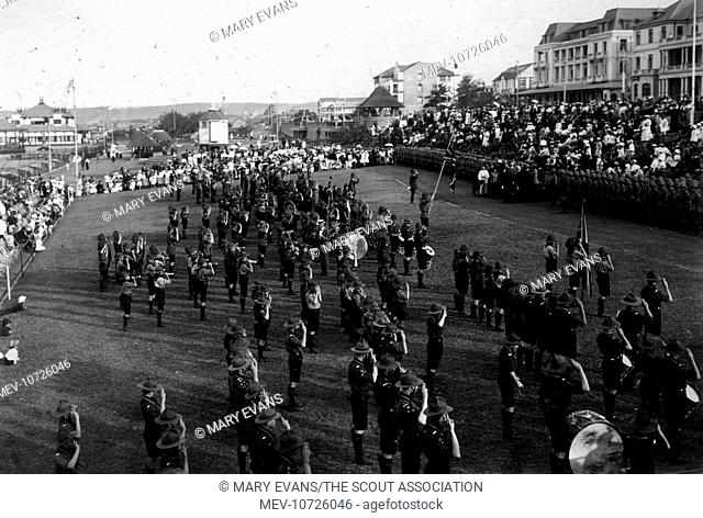 Scouts taking part in a rally in Natal, South Africa -- general view with imperial troops at the front