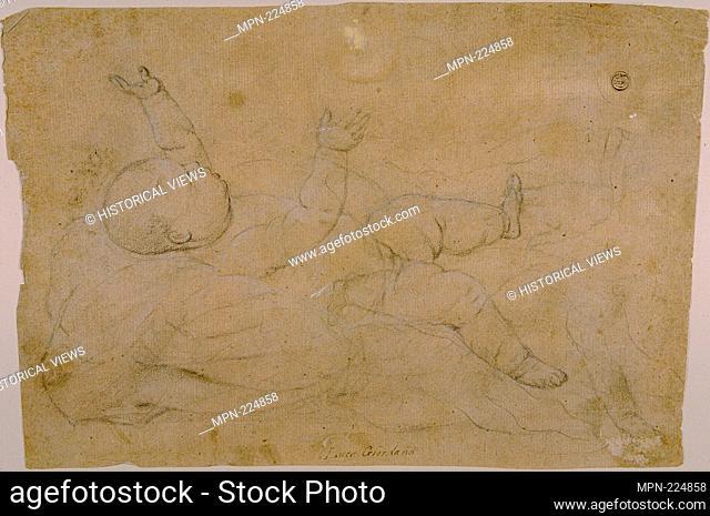Reclining Child - c. 1670 - Attributed to Luca Giordano Italian, 1634-1705 - Artist: Luca Giordano, Origin: Italy, Date: 1652-1705, Medium: Black chalk