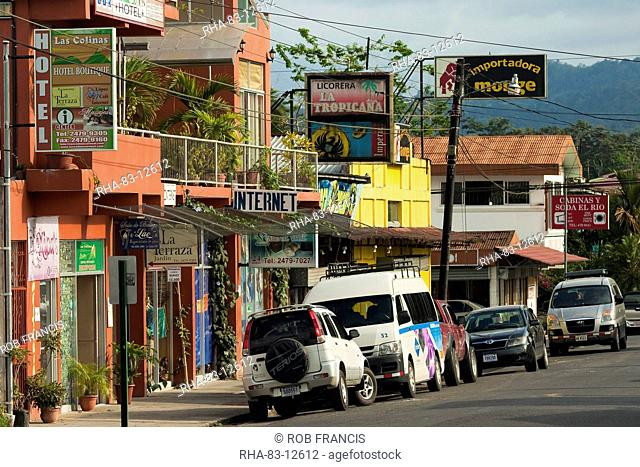 Centre of town and hub for tourist activities near hot springs and Arenal Volcano, La Fortuna, Alajuela Province, Costa Rica, Central America
