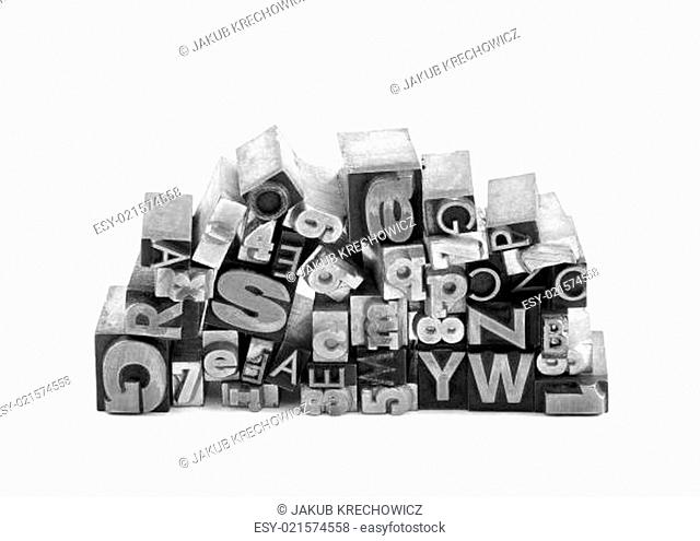 Metal letterpress printing blocks with clipping path