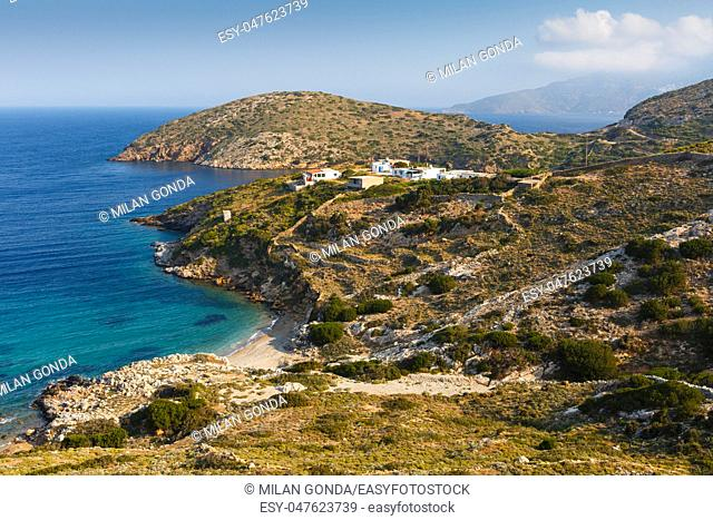Mpali village on the coast of Fourni island, Greece.