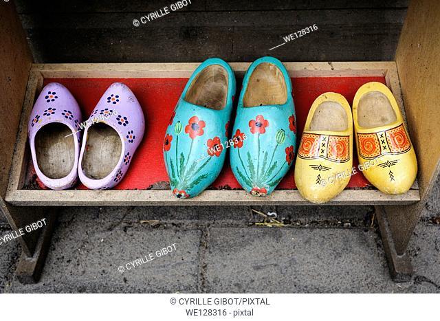 Old clogs on shoe rack, Amsterdam, Netherlands