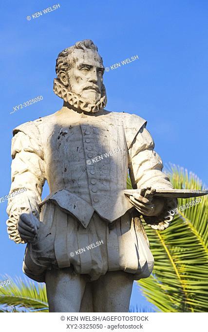 Sitges, Barcelona Province, Catalonia, Spain. Statue of El Greco, proper name Doménikos Theotokópoulos, 1541-1614