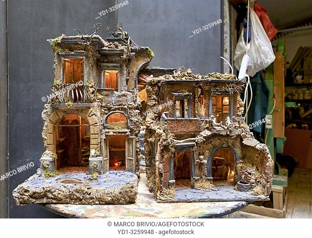 Naples Campania Italy. Hand crafted Christmas Nativity Scene in the artisan workshops of Via San Gregorio Armeno