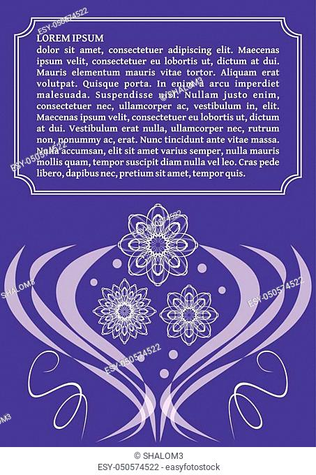 Ultraviolet template with monoline white lace patterns in vintage style, trendy purple color combined with white, elegant invitation