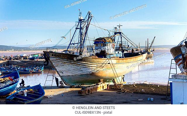 Ships and boats in harbour, Essaouira, Morocco