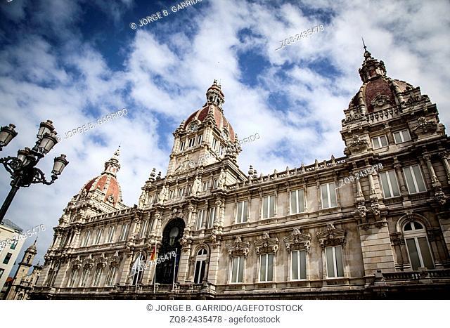 A Coruna Town Hall located on Maria Pita Square in Galicia, Spain