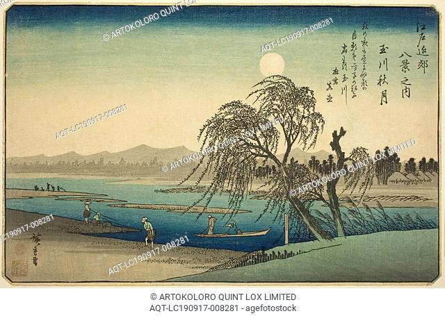 Autumn Moon over Tama River (Tamagawa no shugetsu), from the series Eight Views in the Environs of Edo (Edo kinko hakkei no uchi), c