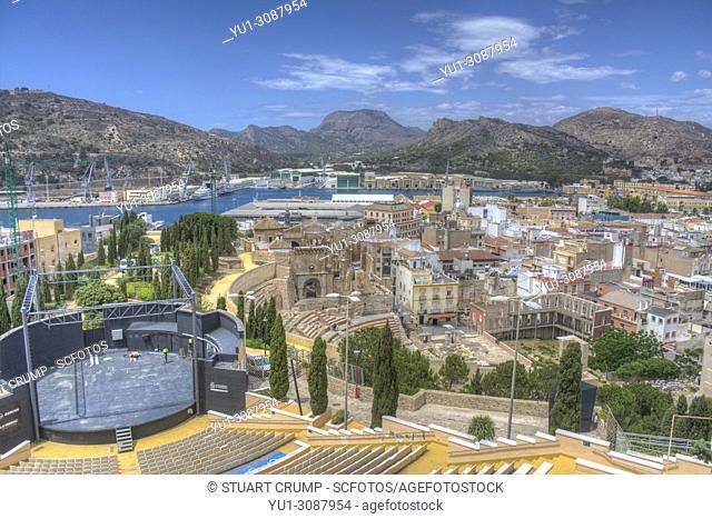 Panoramic view over the city of Cartagena, Murcia, Spain