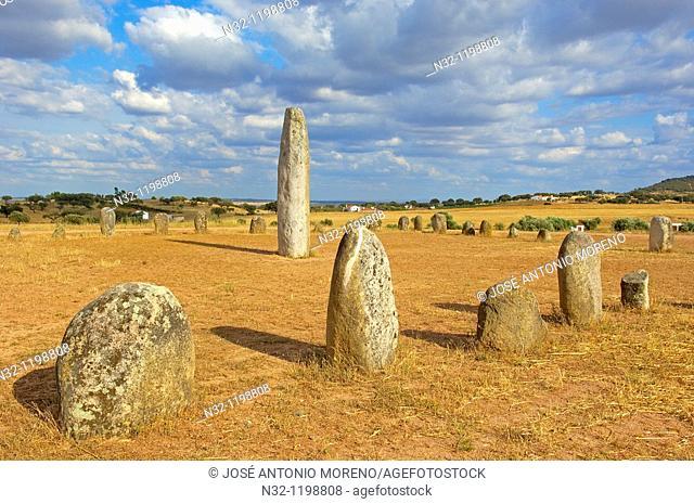Cromeleque de Xarez, Megalithic Site near Monsaraz, Telheiro, Evora district, Alentejo, Portugal, Europe