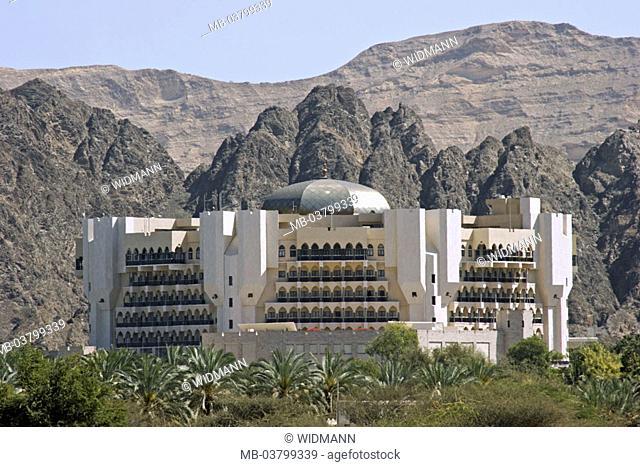 Sultanate Oman, Maskat, hotel  Al-Bustan-Palace, Hajar-Gebirge,  West Asia, Arabic peninsula capital buildings architecture Hotellerie, luxury class