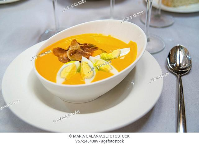 Salmorejo serving. Close view