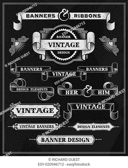 Hand drawn blackboard banner and ribbon set