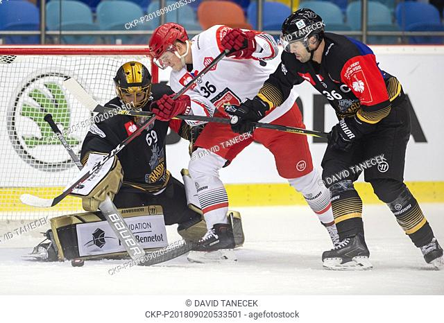From left hockey players goalie MATIJA PINTARIC of Rouen, LUKAS VOPELKA of Hradec, MATHIEU ROY of Rouen in action during the Ice hockey Champions League matches...
