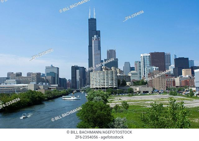 Chicago Illinois skyline from the South Chicago River branch with Sears Tower or Willis Tower in the back with skyscrapers
