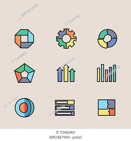 Various icons related to diagrams