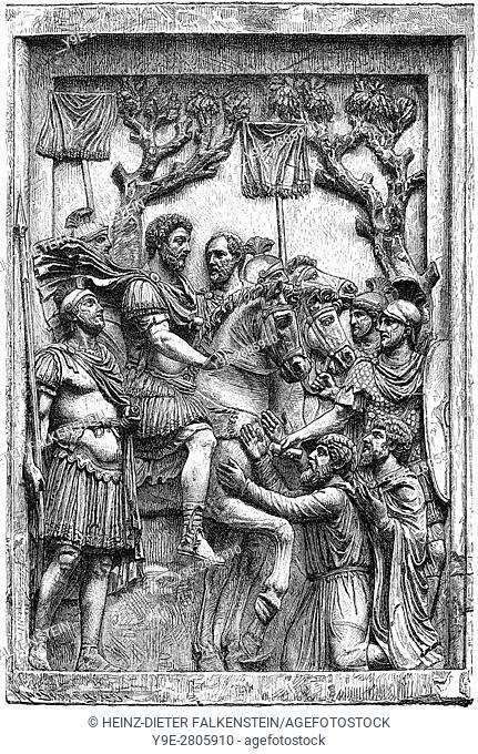 Caracalla or Marcus Aurelius Severus Antoninus, 188 - 217, Roman emperor from 198 to 217, peace with the Marcomanni