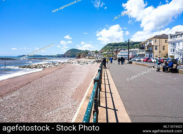 Westerly view along the promenade at Sidmouth Devon UK. June 2019