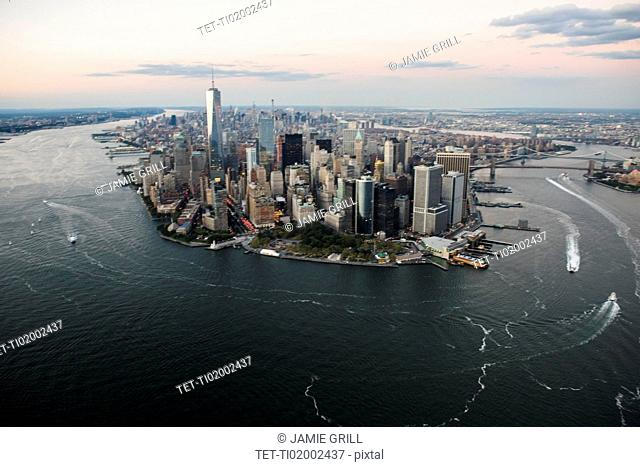 Aerial view of Lower Manhattan and One World Trade Center