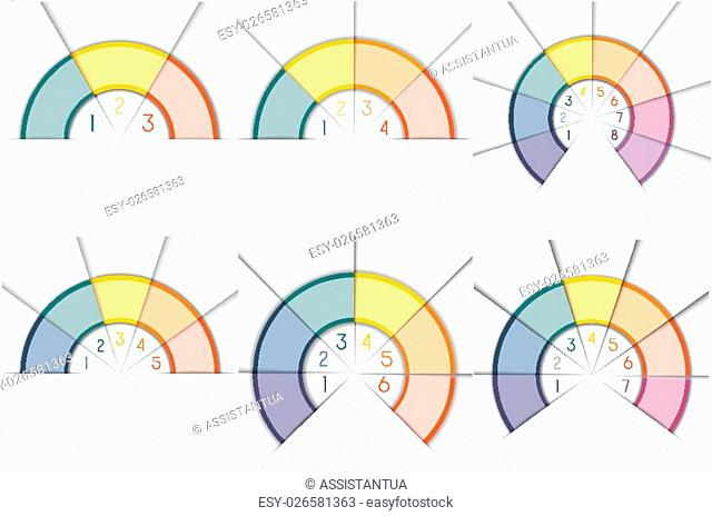 Business infographic for success project and other Your variant. Vector illustration template with text areas on 3, 4, 5, 6, 7, 8 positions