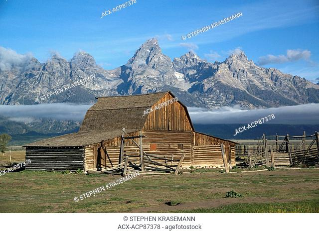 Scenic of Teton Mountain Range and historic T.A. Moulton Barn on Mormon Row in Grand Teton National Park, Jackson, Wyoming, North America