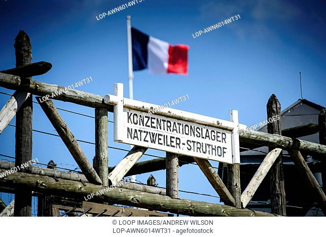 The main gate to the Natzweiler-Struthof German concentration camp located in the Vosges Mountains close to the Alsatian village of Natzwiller