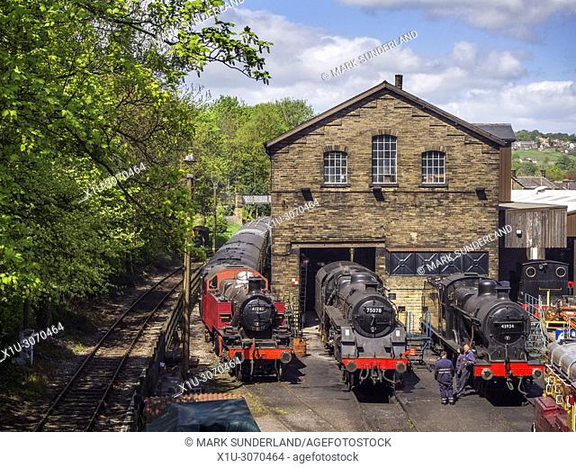 Steam Locomotives at the engine sheds on the Keighley and Worth Valley Railway at Haworth West Yorkshire England
