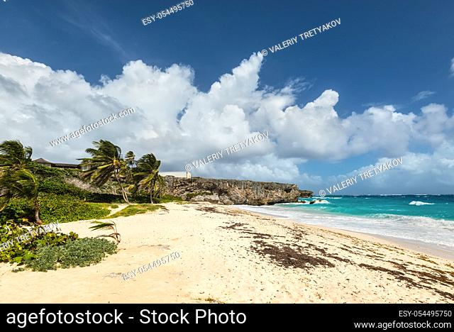 Bottom Bay is one of the most beautiful beaches on the Caribbean island of Barbados. It is a tropical paradise with palms hanging over turquoise sea and a...