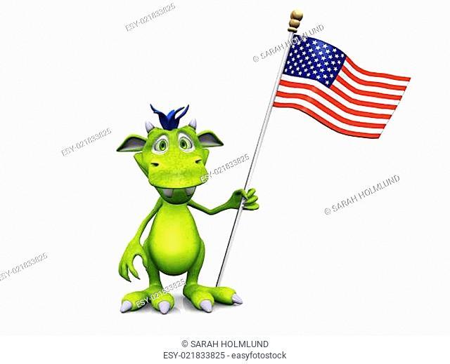Cute cartoon monster holding an American flag