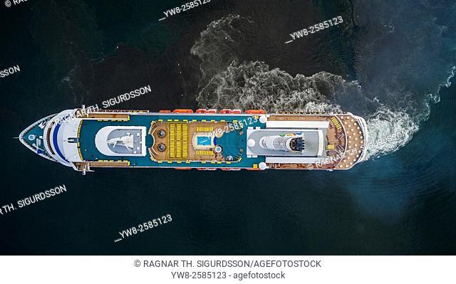 AIDAcara cruise ship. AIDAcara cruise ship is part of a German fleet of ships. Image is shot with a drone. Reykjavik Harbor, Reykjavik, Iceland