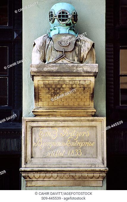 Monument to Em. Z. Svitzer Bjergnings Enterprise dated 1833 in the Nyhavn ('New Harbor') area, Copenhagen. Denmark