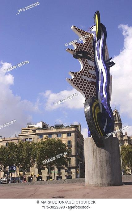 El Cap de Barcelona, sculpture by Roy Lichtenstein. Barcelona, Spain